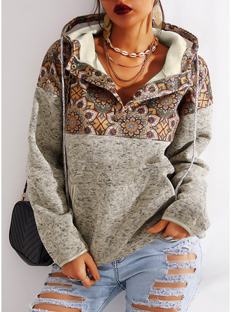 Color Block Print Long Sleeves Hoodie