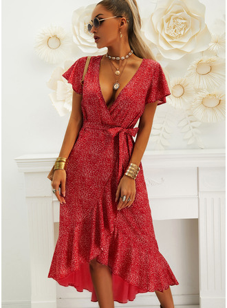 Nadruk Sukienka Trapezowa Krótkie rękawy Asymetryczny Nieformalny Wakacyjna Okrycie Modne Suknie