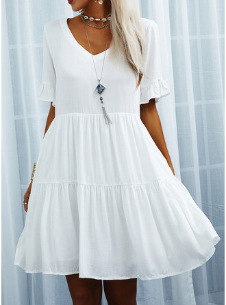 Solid Shift Short Sleeves Mini Casual Tunic Dresses