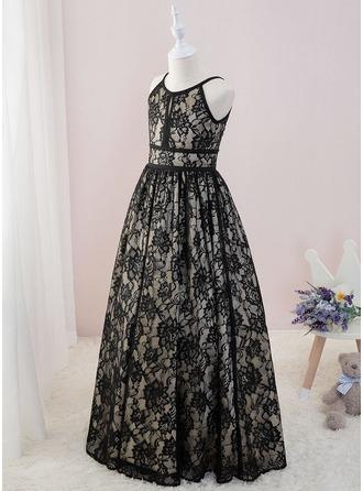 De Baile/Princesa Longos Vestidos de Menina das Flores - Renda Sem magas Decote redondo (Anágua não incluído)