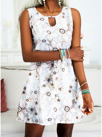 Floral Print Shift Sleeveless Midi Vacation Dresses