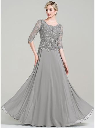 A-Linie/Princess-Linie U-Ausschnitt Bodenlang Chiffon Kleid für die Brautmutter mit Perlstickerei Pailletten