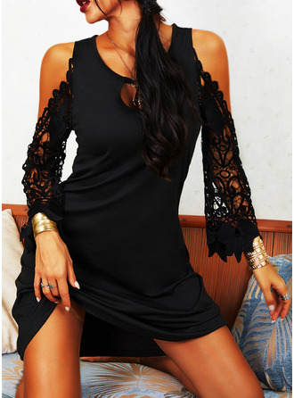 Lace Solid Shift Cold Shoulder Sleeve Long Sleeves Mini Little Black Casual Vacation Tunic Dresses