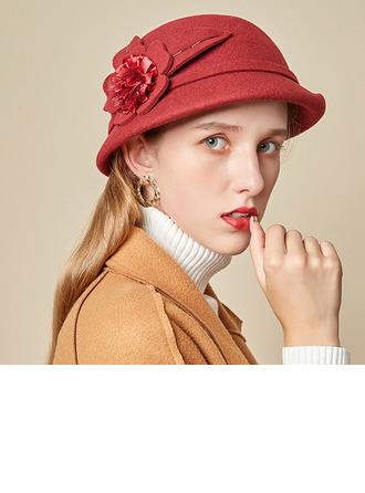 Señoras' Glamorosa/Encanto/Romántico Madera con Flores de seda Bombín / cloché Sombrero