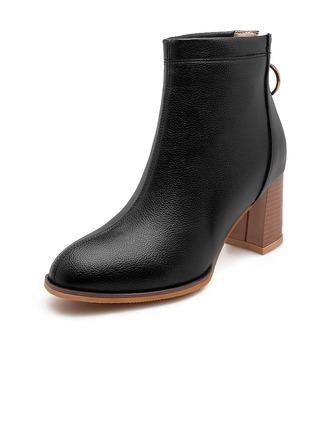 c54cf95f Kvinner Lær Stor Hæl Pumps Støvler Ankelstøvler med Glidelås sko  (088175637) - Boots - DressFirst
