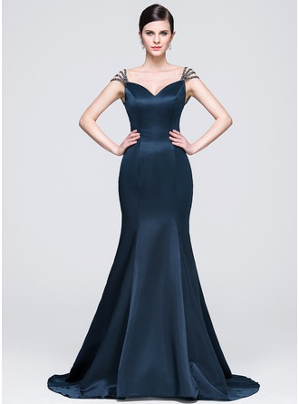 Trumpet/Mermaid Sweetheart Court Train Satin Evening Dress With Beading Sequins