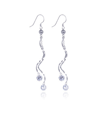 Damen Funken 925 Sterlingsilber mit Diamant Zirkonia Ohrringe Freunde/Brautjungfern