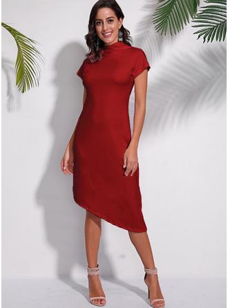 Solid A-linjeklänning Korta ärmar Midi Fritids Modeklänningar