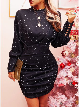 Print Bodycon Lantern Sleeve Long Sleeves Mini Elegant Dresses
