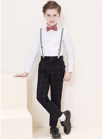 Boys 4 Pieces Plaid Ring Bearer Suits /Page Boy Suits With Shirt Pants Bow Tie Suspender