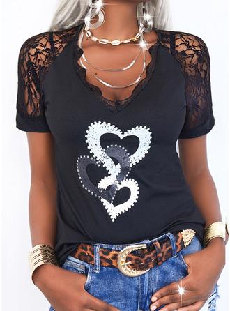 Lace Print Heart V-Neck Short Sleeves Elegant Blouses