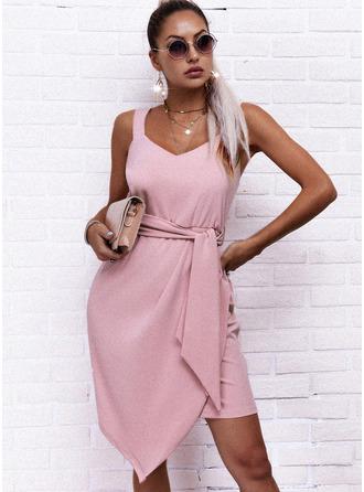 Sólido Bainha Sem mangas Mini Elegante Tipo Vestidos na Moda