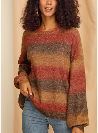 Round Neck Casual Oversized Color Block Cable-knit Chunky knit Sweaters