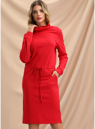 Solid Bodycon Long Sleeves Midi Casual Sweatshirt Dresses