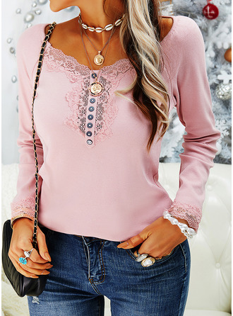 Lace Solid V-Neck Long Sleeves Button Up Casual Blouses (1003254878)
