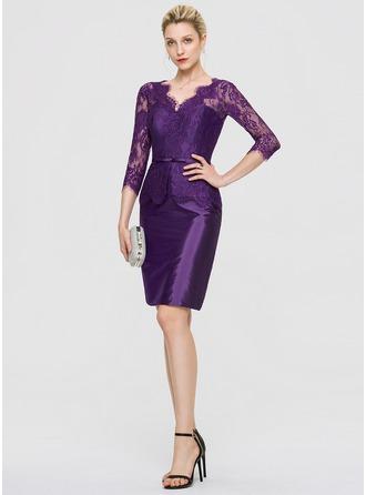 Платье-чехол V-образный Длина до колен Тафта Коктейльные Платье