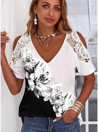 Floral Print Cold Shoulder Short Sleeves Casual