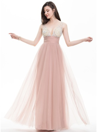 A-Line/Princess V-neck Floor-Length Tulle Prom Dress With Ruffle Beading Sequins