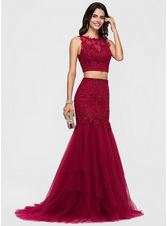 Trumpet/Mermaid Scoop Neck Sweep Train Tulle Prom Dresses With Lace Beading Sequins
