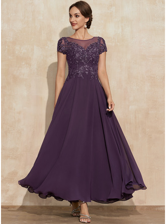 A-Line Scoop Neck Ankle-Length Chiffon Lace Mother of the Bride Dress With Sequins