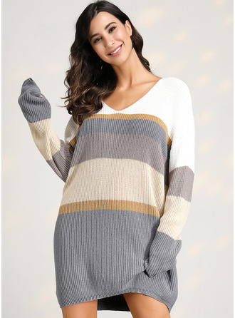 Color Block Striped Polyester V-neck Pullovers Sweater Dresses Sweaters