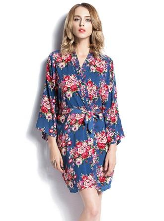 Brud Brudepike Blomsterpike Bomull med Kort Blomsterklær Jente kjoler Kimono robes