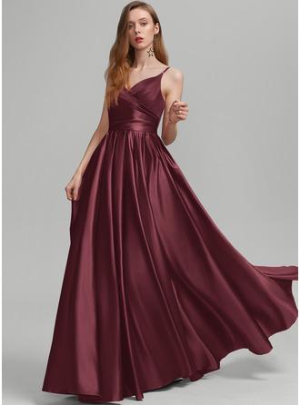 A-Line V-neck Floor-Length Satin Prom Dresses With Ruffle Pockets