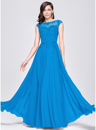 A-Line/Princess Scoop Neck Floor-Length Chiffon Prom Dresses With Beading Appliques Lace Sequins