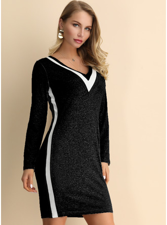 With Stitching Knee Length Dress