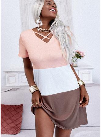 Color Block Šaty Shift Krátké rukávy Mini Neformální Tunika Módní šaty