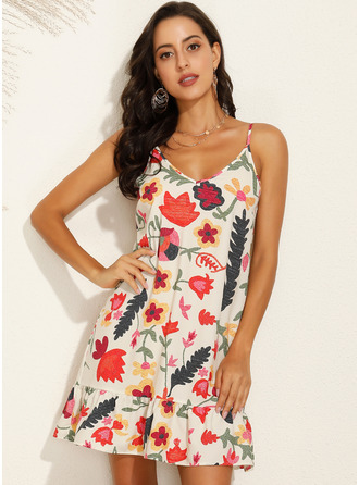 Above Knee Spaghetti Straps Polyester Print Sleeveless Fashion Dresses
