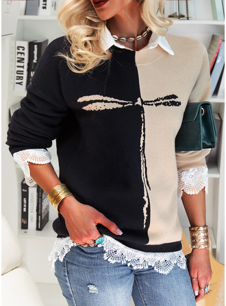 Round Neck Casual Animal Print Color Block Sweaters