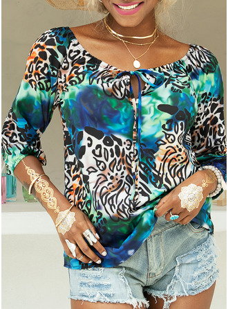 Leopard Langermer Polyester Bare skuldre Bluser