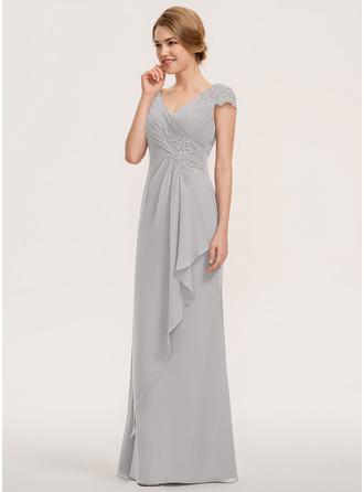 Трапеция V-образный Длина до пола шифон Кружева Платье Подружки Невесты с Ниспадающие оборки