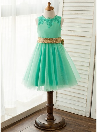 A-Line/Princess Knee-length Flower Girl Dress - Satin/Tulle/Lace Sleeveless Scoop Neck With Undetachable Sash/Bow(s)