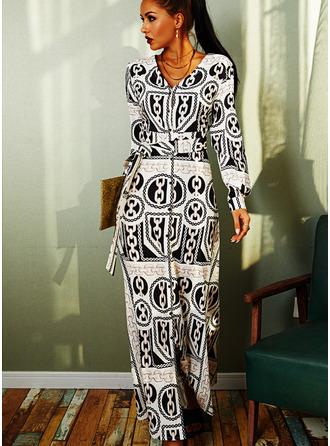 Imprimeu Bir Çizgi Mâneci Lungi Maxi bağbozumu Patenci Moda Elbiseler