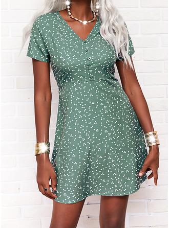 PolkaDot Print A-line Short Sleeves Mini Casual Skater Dresses