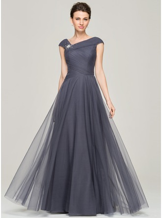 A-Line/Princess V-neck Floor-Length Tulle Mother of the Bride Dress With Ruffle Beading Sequins