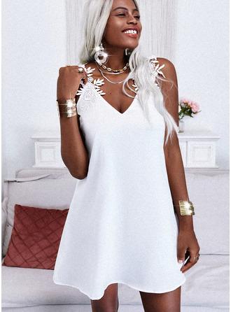 Renda Sólido Vestidos soltos Sem mangas Mini Elegante Vestidos na Moda