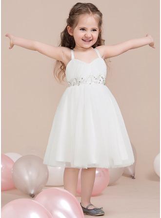 A-Lijn/Prinses Liefje Knie-Lengte Tule Junior Bruidsmeisjes Jurk met Roes Kralen