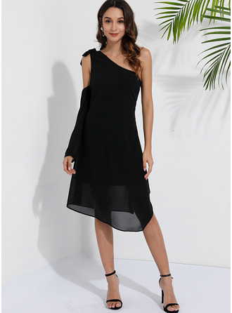 Solid Shift Long Sleeves Asymmetrical Casual Tunic Dresses