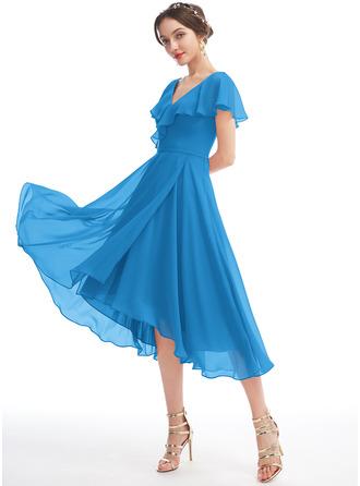 A-Line V-neck Asymmetrical Bridesmaid Dress With Ruffle