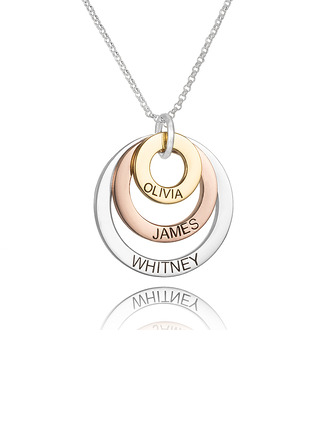 Custom Sterling Silver Engraving/Engraved Circle Three Family Necklace Circle Necklace With Kids Names - Birthday Gifts Mother's Day Gifts