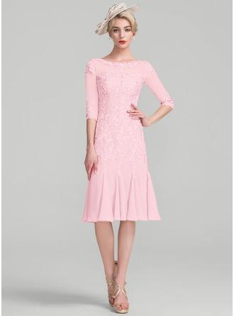 Etui-Linie U-Ausschnitt Knielang Chiffon Spitze Kleid für die Brautmutter mit Perlstickerei