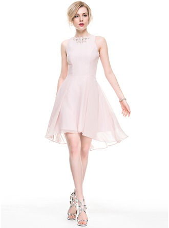 A-Line/Princess Scoop Neck Asymmetrical Chiffon Cocktail Dress With Beading Sequins
