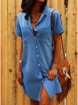 Solid Shift Short Sleeves Mini Denim Casual Shirt Dresses