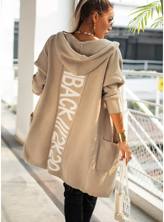 Hooded Casual Print Pocket Sweaters