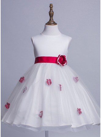 A-Line/Princess Short/Mini Flower Girl Dress - Satin/Tulle Sleeveless Scoop Neck