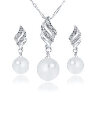 Elegante Aleación/Diamantes de imitación/La perla de faux con Rhinestone Señoras' Sistemas de la joyería