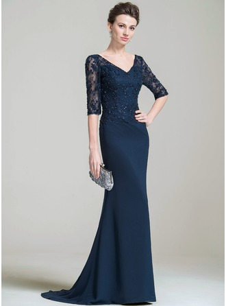Trumpet/Mermaid V-neck Sweep Train Chiffon Lace Evening Dress With Beading Appliques Lace Sequins